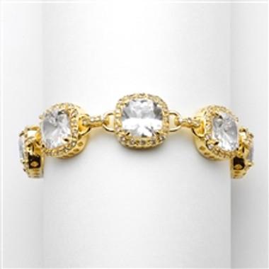 """Magnificent Gold 7"""" Popular Petite Length Cushion-Cut CZ Bracelet-4069B-G-7"""