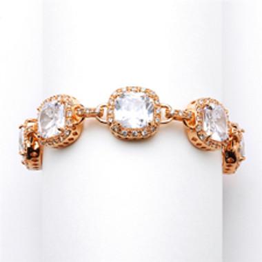 Magnificent Rose Gold Petite Length Cushion Cut CZ Bridal or Pageant Bracelet-4069B-RG-6
