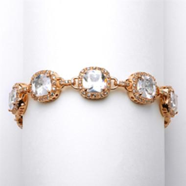 Magnificent Cushion Cut CZ Rose Gold Bridal or Pageant Bracelet-4069B-RG-8