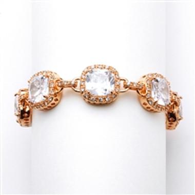Magnificent Cushion Cut CZ Rose Gold Bridal or Pageant Bracelet-4069B-RG-7
