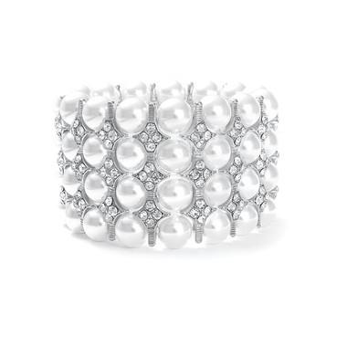 Mariells Gorgeous White Pearl Bridal Stretch Bracelet 3222B-S
