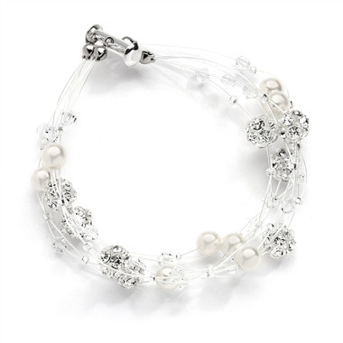 Mariells Sarah's Special 2-Row Floating Pearl, Crystal and Rhinestone Fireball Illusion Bridal Bracelet 4265B-2-I-CR-S