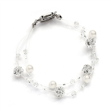 Mariells Sarah's Special 4-Row Floating Pearl, Crystal and Rhinestone Fireball Illusion Bridal Bracelet 4265B-4-I-CR-S