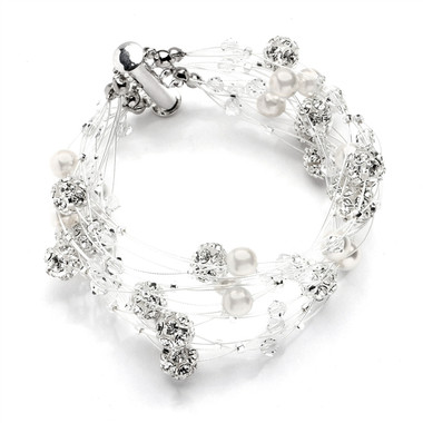 Mariells Sarah's Special 8-Row Floating Pearl, Crystal and Rhinestone Fireball Illusion Bridal Bracelet 4265B-8-I-CR-S