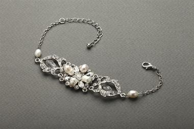 Mariells Top-Selling Freshwater Pearl & Crystal Wedding Bracelet 4062B