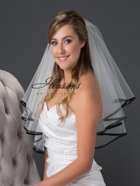 ILLusions Bridal Veil Style Number - C7-302-3R-BK -  Black ribbon edge