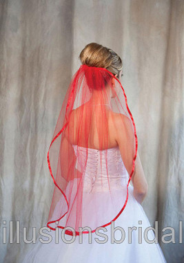 Illusions Bridal Veils Style Number  5-301-3R-RD - Red Wedding Veil with Ribbon Edge
