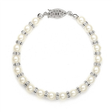 Mariells Alternating Pearl and Rondelle Wedding Bracelet 189B