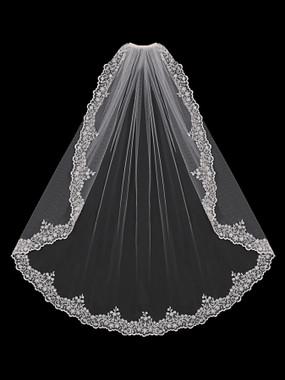 En Vogue Bridal Style V1590SF - English Tulle Fingertip Lace Veil - One Tier