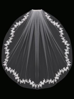 En Vogue Bridal Style V1694SF - English Tulle Fingertip Lace Veil - One Tier