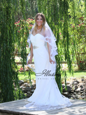 Illusions Bridal Veils Style C7-902-8LL - 2 Layer Circle Cut Chapel Lace Edge
