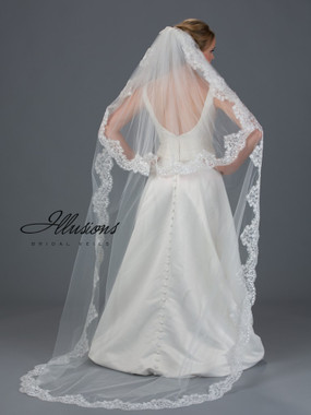 Illusions Bridal Veils Style S7-902-13L - 2 Layer Circle Cut Chapel Lace Edge