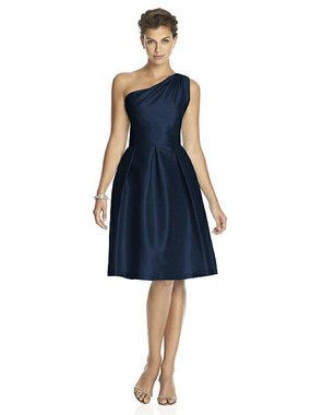 Alfred Sung Dress Style D458 - Midnight - Dupioni - In Stock Dress