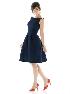 Alfred Sung Dress Style D448 - Midnight - Dupioni - In Stock Dress
