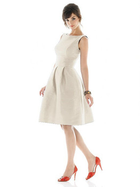 Alfred Sung Dress Style D448 - Champagne - Dupioni - In Stock Dress