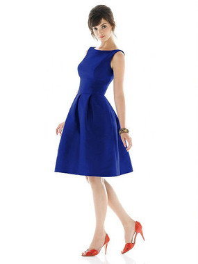 Alfred Sung Dress Style D448 - Royal - Dupioni - In Stock Dress