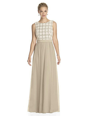 Lela Rose Dress Style LR182 - Palomino/Ivory - Crinkle Chiffon - In Stock Dress