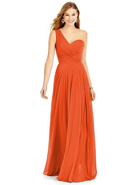 Tangerine Tango  Color - After Six Bridesmaids Style A6751 - Lux Chiffon