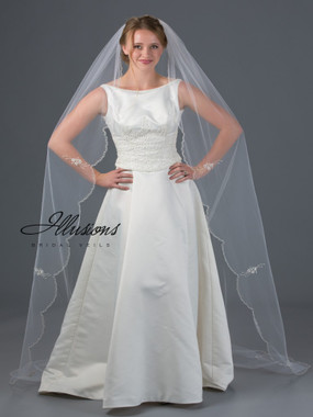 Illusions Bridal Veils Style V-7056 - Silver edge with with bugle bead accents and appliques