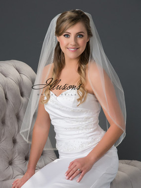 Illusions Bridal Veils Style V-7052 - Metallic and bugle bead edge
