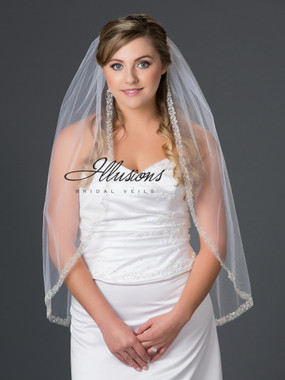 Illusions Bridal Veils Style V-7050 - Silver metallic with rhinestone, bugle bead and pearl accents
