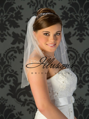 Illusions Bridal Veils Style V-7030 - edge has Crystal and bugle bead appliques and bugle beads along edge