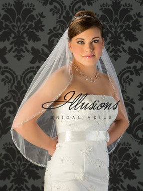 Illusions Bridal Veils Style V-7016 - edge is pearl, bugle bead and sequins