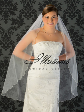Illusions Bridal Veils Style V-795 - silver bugle bead edge with rhinestone and crystal accents