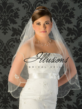 Illusions Bridal Veils Style V-794 - edge is a silver edge silver bugle bead accents