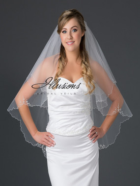 Illusions Bridal Veils Style V-7051 - 2 Tier Bugle bead edge with crystal accents