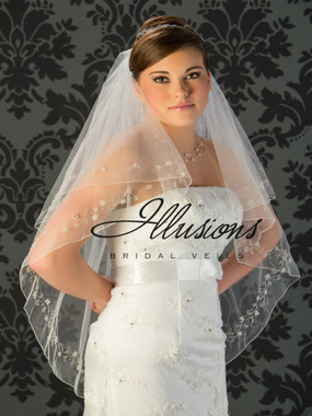 Illusions Bridal Veils Style V-7028 - 2 Tier edge is silver metallic floral detail with rhinestones and bugle beads along edge