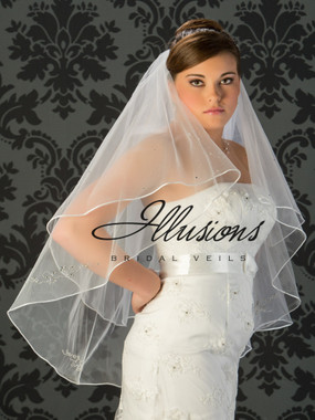 Illusions Bridal Veils Style V-7019 - 2 Tier rattail edge with rhinestone appliques