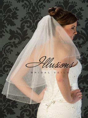 Illusions Bridal Veils Style V-773 - 2 Tier edge is a pearl and bugle bead