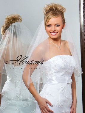Illusions Bridal Veils Style V-763 - 2 Tier bugle beads with sequins