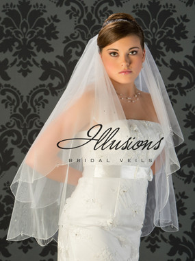 Illusions Bridal Veils Style V-749 - 2 Tier sead beads with rhinestones and crystal drops