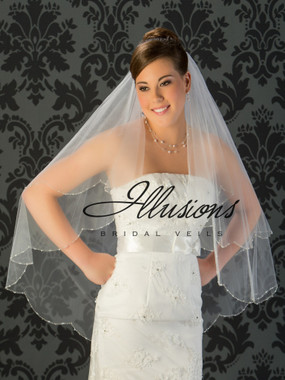 Illusions Bridal Veils Style V-743 - 2 Tier silver bugle beads, pearls and rhinestones