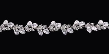 En Vogue Bridal Belt Style BT1782 - rhinestone belt with organza ties