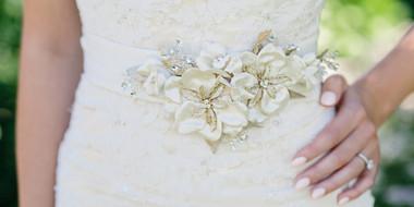 En Vogue Bridal Belt Style BT1784 - Satin Gold & Rum Pink Belt
