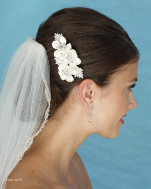 Marionat Bridal 4670 Fabric Flower Comb with Rhinestones - Le Crystal Collection