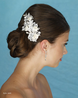 Marionat Bridal 4680 Lace and Fabric Flower Clip - Le Crystal Collection