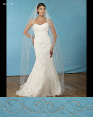 "Marionat Bridal Veils 3474- Silver embroidered beaded veil 108"" Inches Long -The Bridal Veil Company"