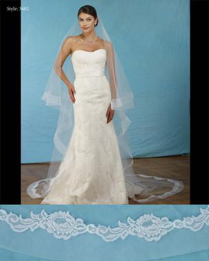 "Marionat Bridal Veils 3482-Foldover horsehair lace veil 108"" Inches Long -The Bridal Veil Company"