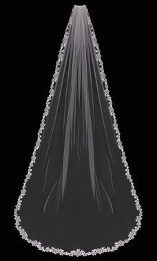 En Vogue Bridal Style V1799C - English tulle veil with lace edge - 108 Inches