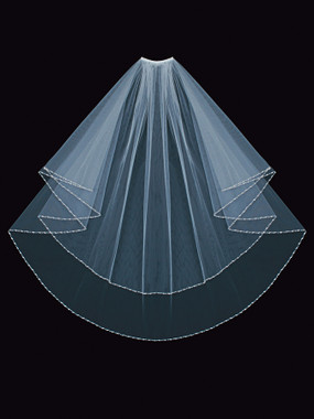 En Vogue Bridal Style V1497W - English tulle veil with beaded edge - Circle Cut