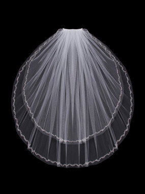 En Vogue Bridal Style V803W - English tulle veil with cut edge and beaded and crystal vine design - Two Tier