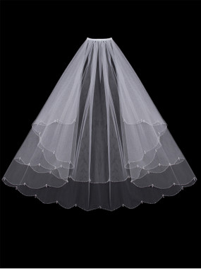 En Vogue Bridal Style V402W - English tulle veil with beaded and crystal edge - Circle Cut
