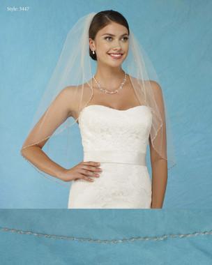 Marionat Bridal Veils 3447 - Beaded Edge with Crystals - The Bridal Veil Company