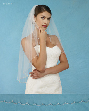 Marionat Bridal Veils 3449 - Scalloped Veil with Beads Pearls and Crystals - The Bridal Veil Company