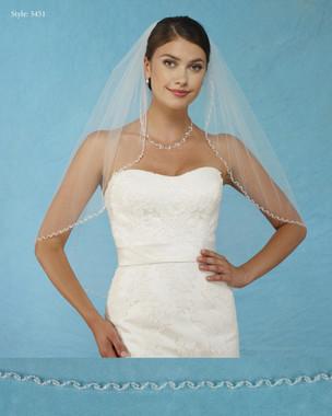 Marionat Bridal Veils 3451 - Beaded Edge with Crystals -The Bridal Veil Company