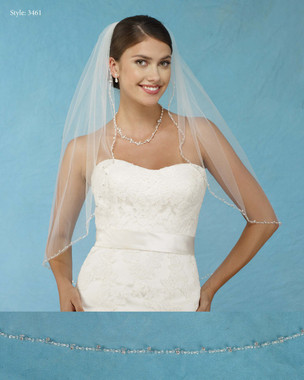 Marionat Bridal Veils 3461 - Beaded Edge with Rhinestones and Sequins